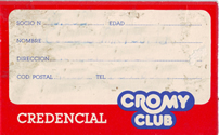 Credencial Cromy Club 1988